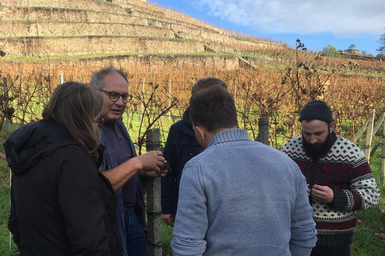 Das EXPRESS-Team im Gespräch mit Walter Beck vom Weingut Schloss Proschwitz, eines der Experimentierfelder in EXPRESS