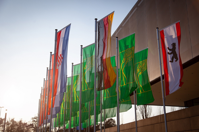Grüne Woche 2020: Flaggen vor der Landwirtschaftsmesse