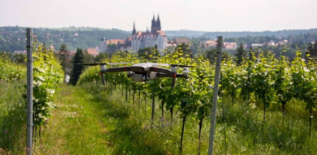 Drohne mit Schloss Proschwitz im Hintergrund